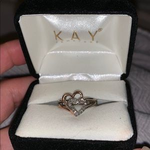 Kay Jeweler double heart ring with box